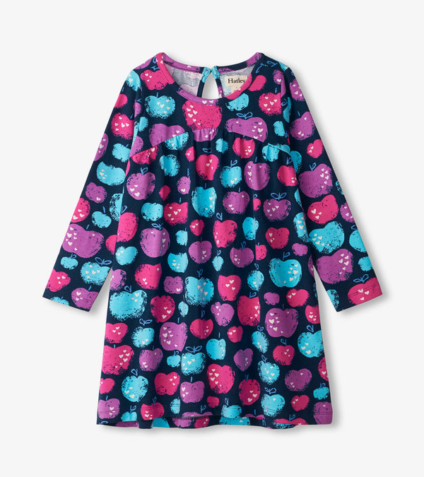 Stamped Apples Trapeze Dress