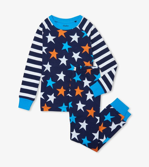 Stars And Stripes Organic Cotton Raglan Pajama Set