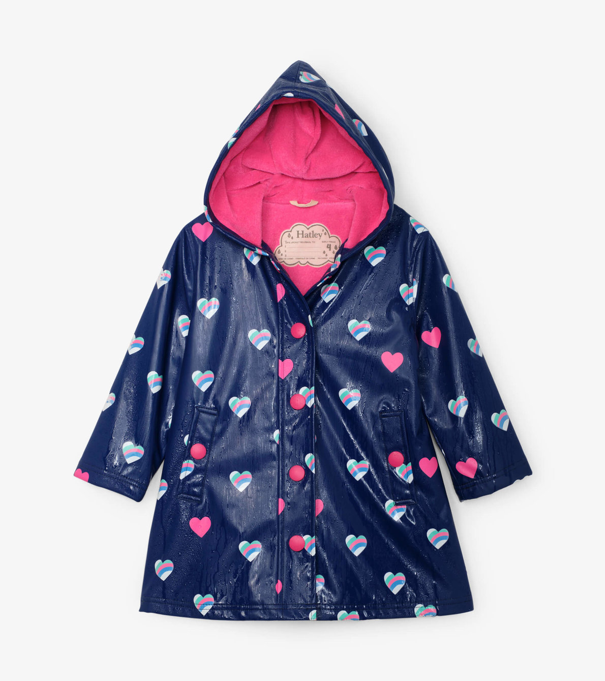 View larger image of Striped Hearts Colour Changing Splash Jacket