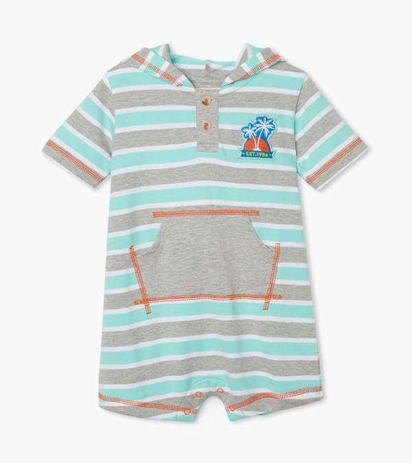 Summer Stripes Hooded Baby Terry Romper