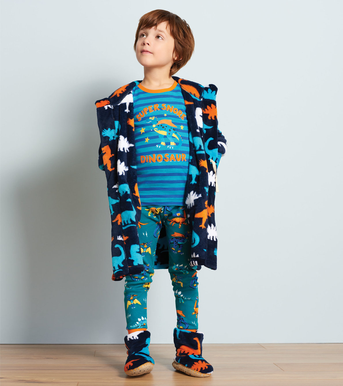 View larger image of Superhero Dinos Organic Cotton Appliqué Pajama Set