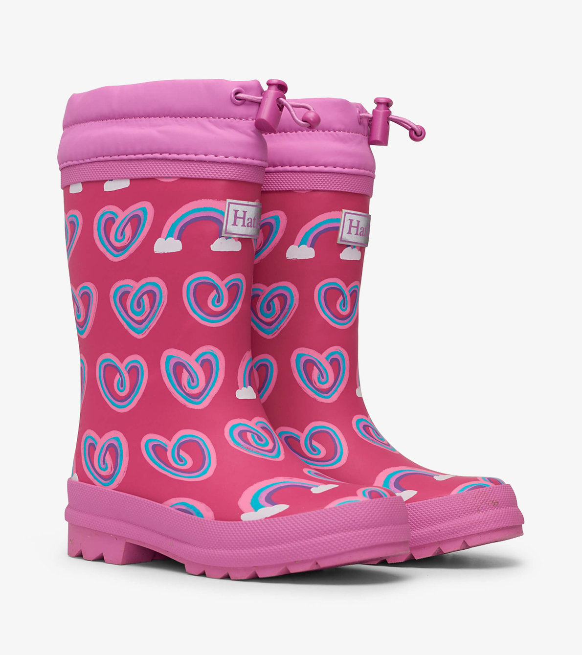 View larger image of Twisty Rainbow Hearts Sherpa Lined Rain Boots